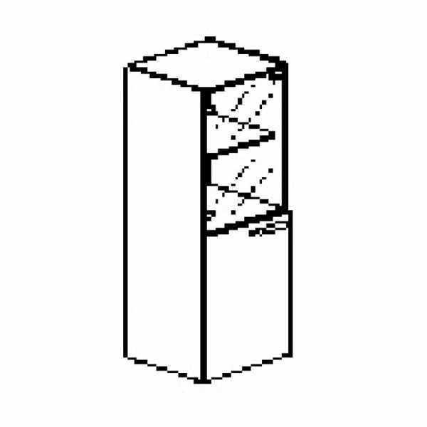 Silver irodabútor-irodai-négyrendezős-keskeny-üveges-zárt-szekrény